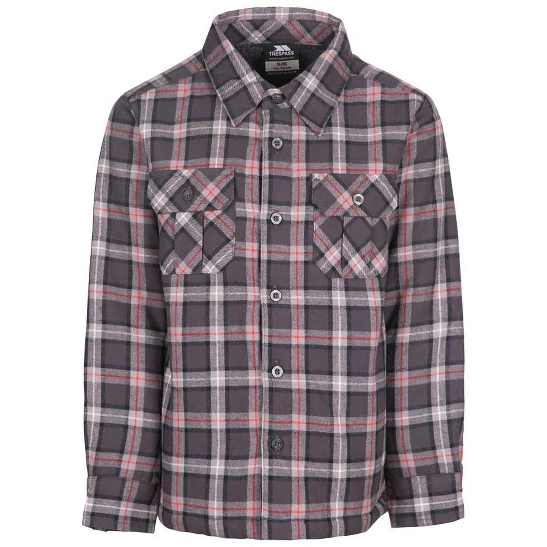 Trespass Childrens/Kids Average Long Sleeved Gingham Shirt (7-8 Years) (Dark Grey Check)
