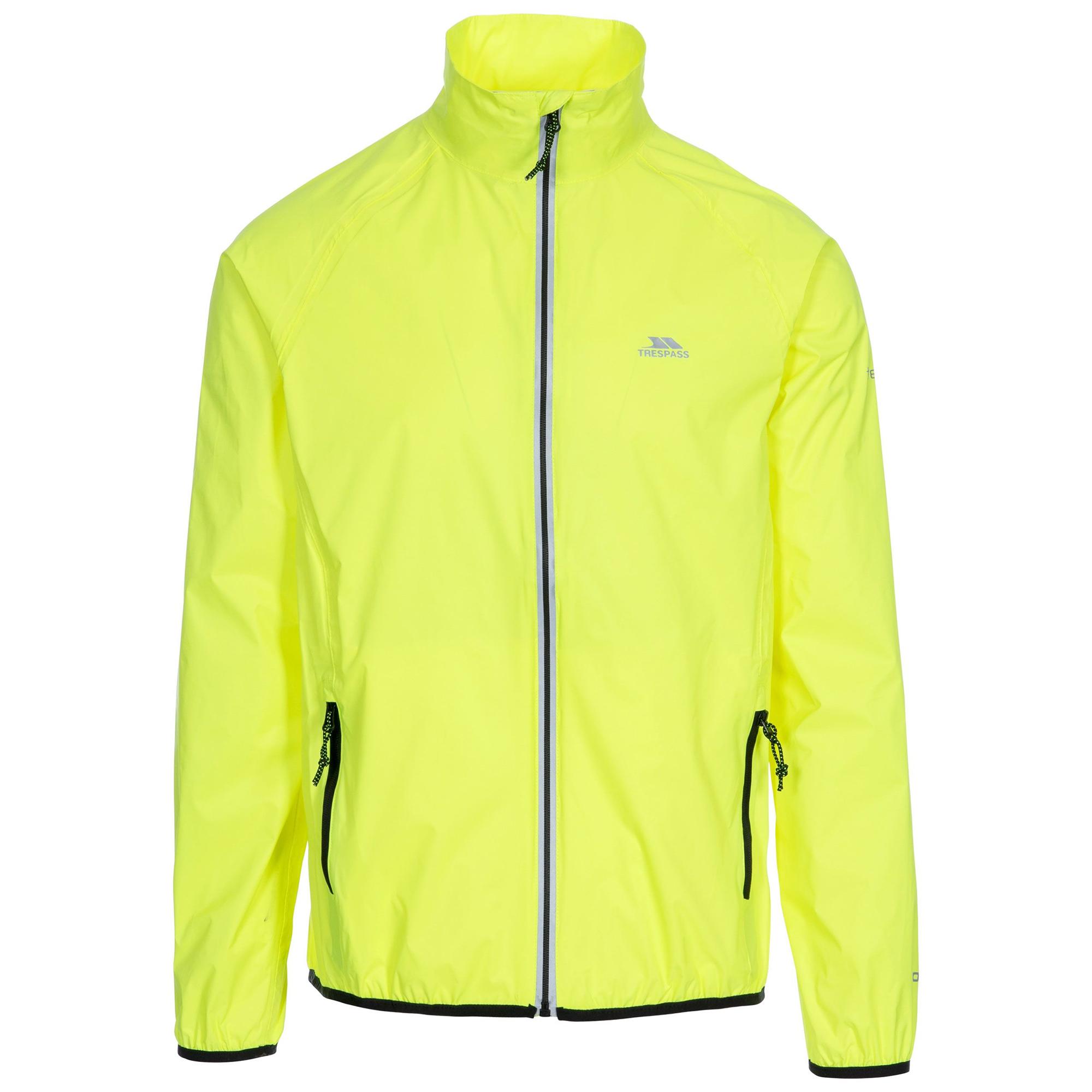 Trespass Mens Retract Hi-Vis Packaway Waterproof Jacket. (S) (Hi Visibility Yellow)