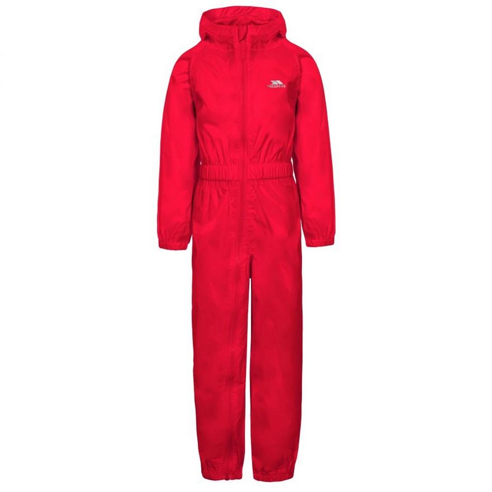 Trespass Childrens/Kids Button Rain Suit (3-4 Years) (Red)