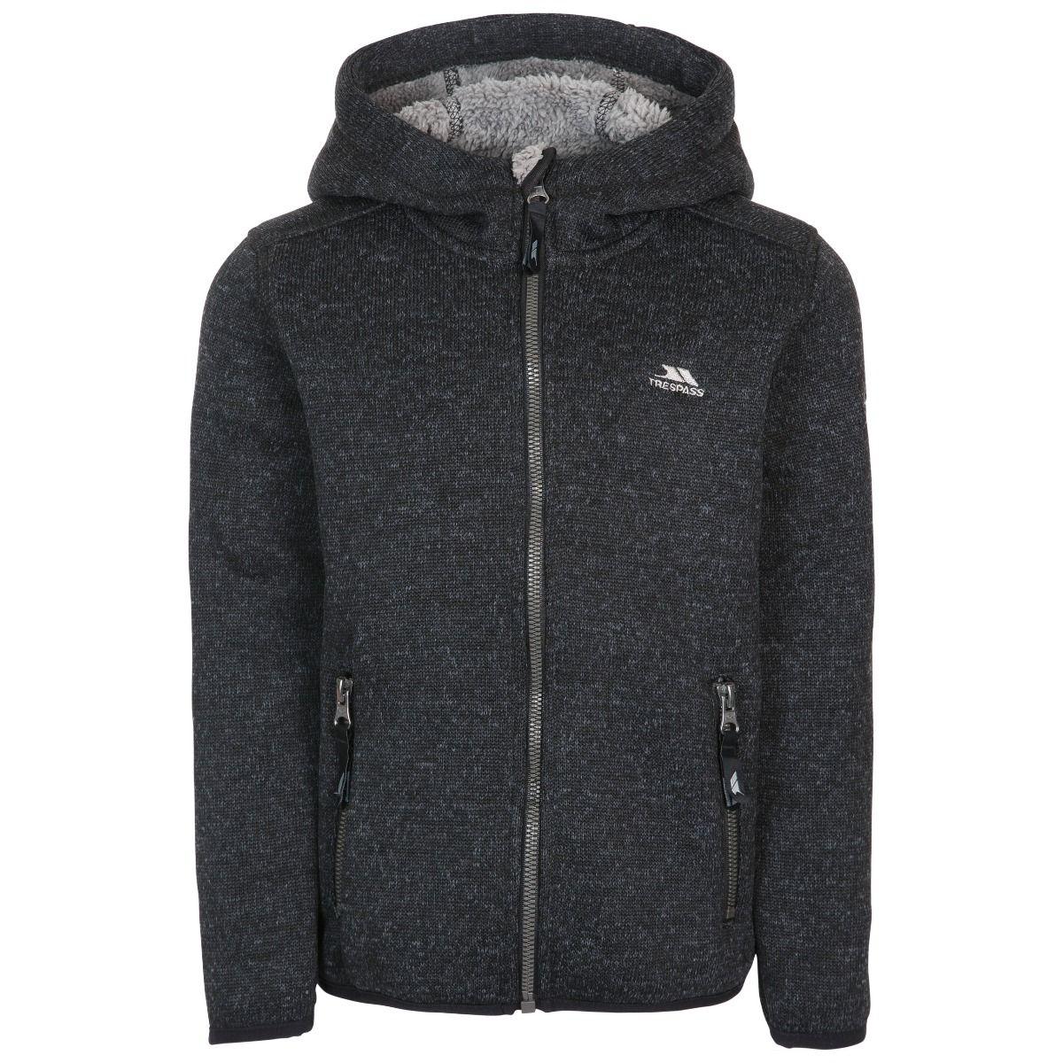 Trespass Boys Tableypipe Hooded Fleece Jacket (7-8 Years) (Black Marl)