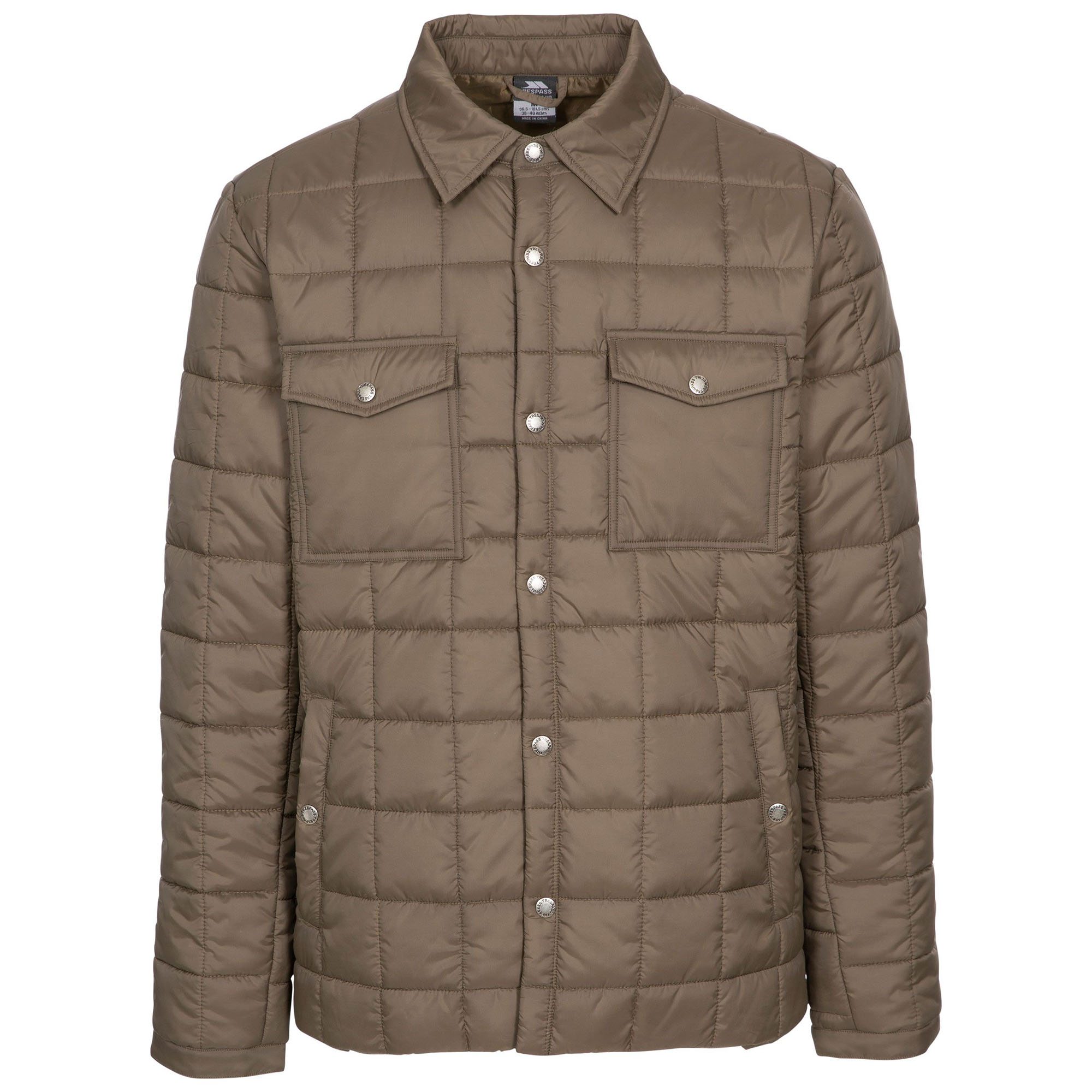 Trespass Mens Hullford Padded Jacket (S) (Dark Khaki)