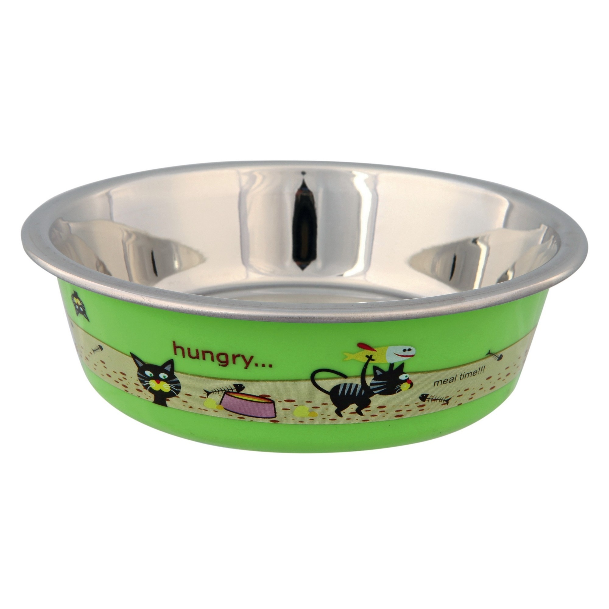 tx536 Asrtd Trixie Stainless Steel Cat Bowl With Plastic Coating