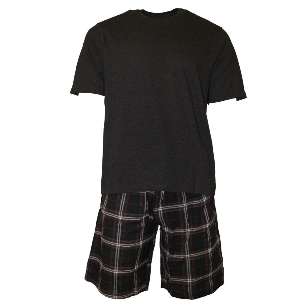 Cargo Bay Mens Checked T-Shirt & Shorts Pyjama Set (L) (Grey/Black)