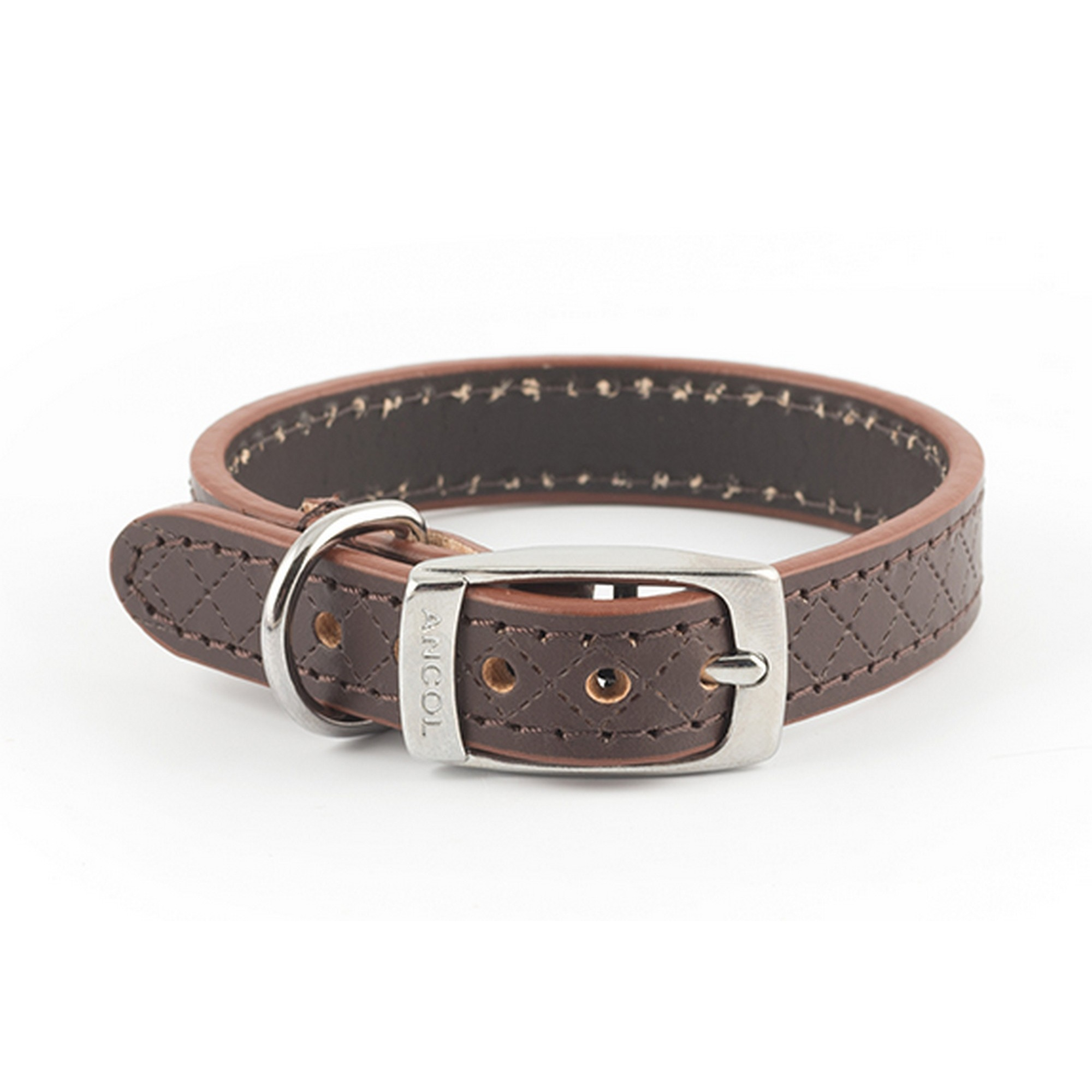Ancol-Pet-Products-Heritage-Diamond-Quilted-Leather-Collar-VP1126