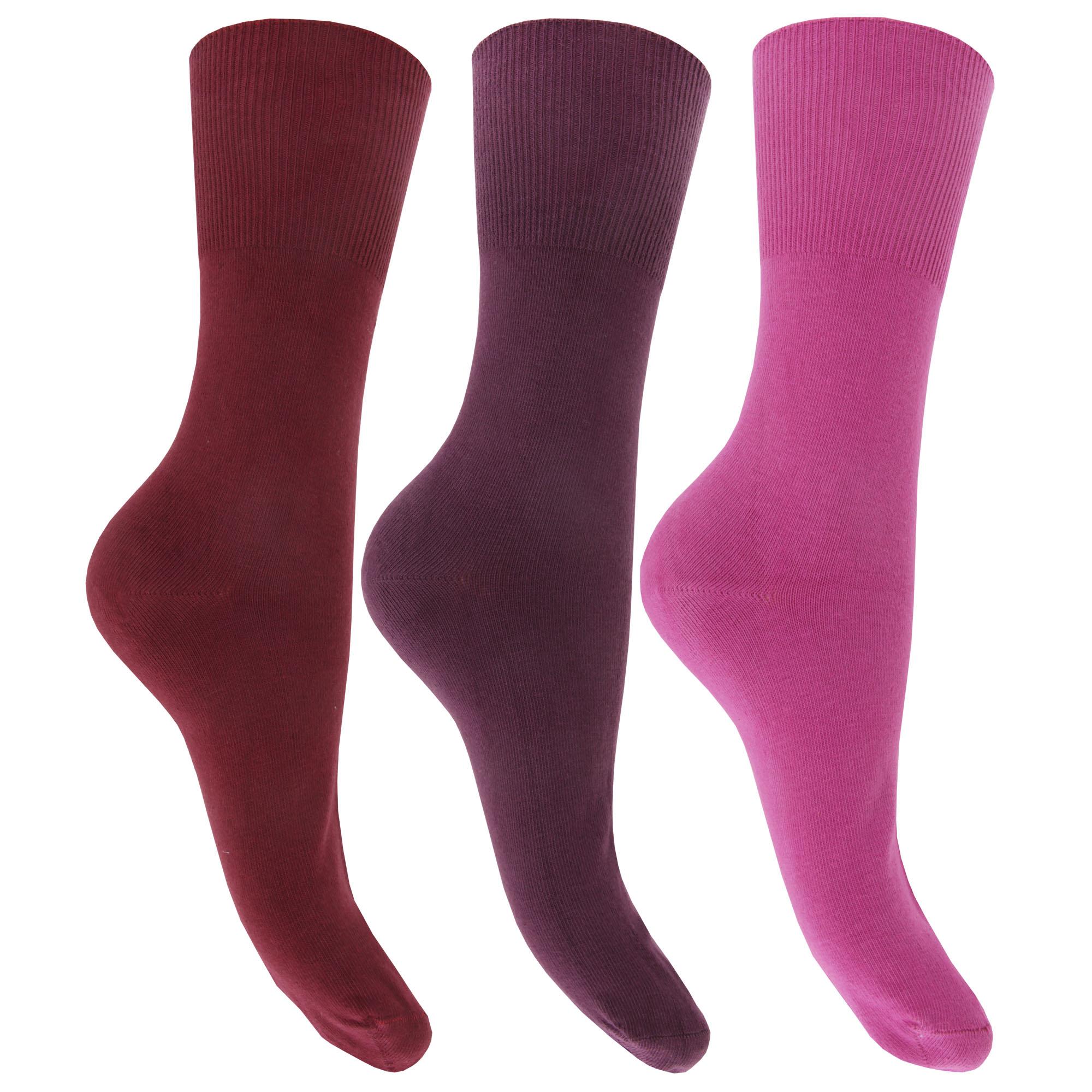 Mujer/Dama Puro Algodón Rico Calcetines No Elástico Superior (paquete de 3)