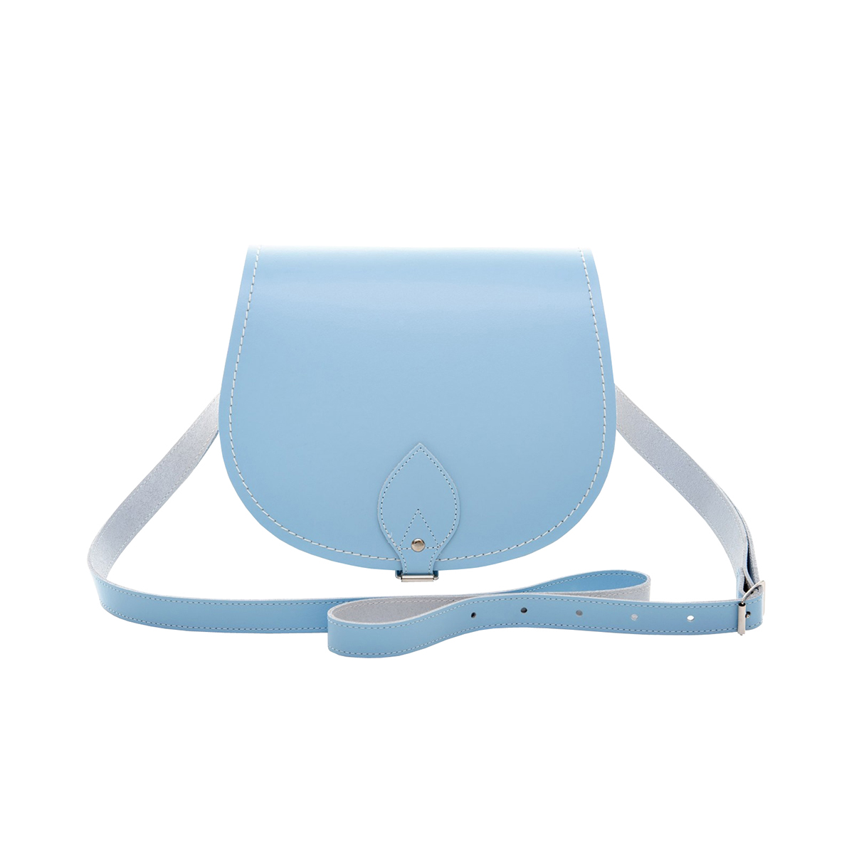 Zatchels Womens/Ladies Handcrafted Pastel Leather Saddle Bag (British Made) (Small) (Baby Blue)