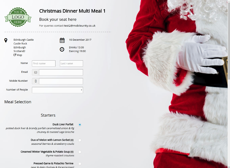 Demo Christmas Booking Page
