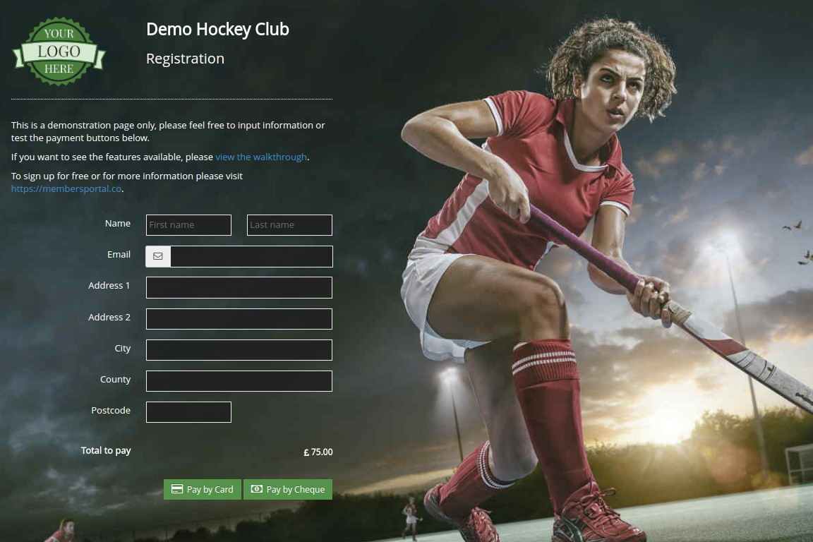 Members Portal hockey club sample registration screenshot
