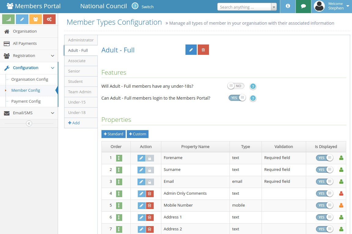 Members Portal membership configuration page