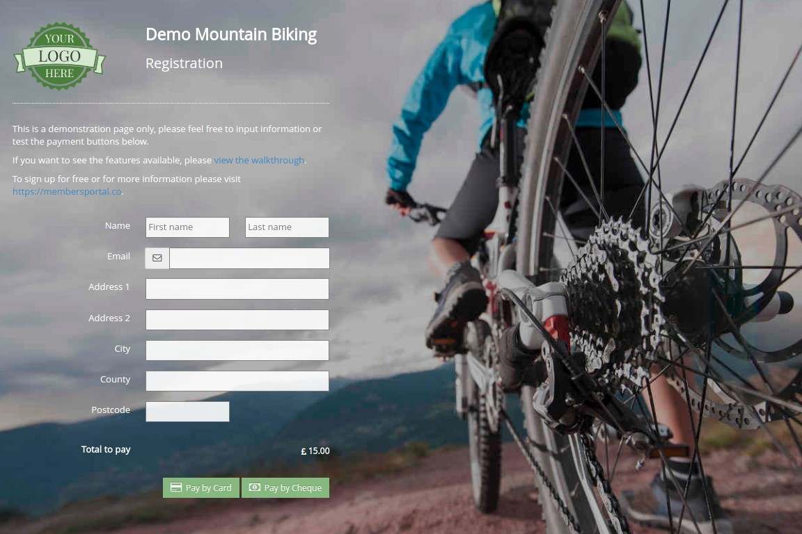 Members Portal mountain biking event registration screenshot