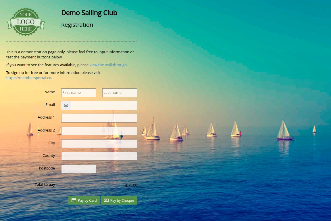 Members Portal sailing/yacht club event registration screenshot