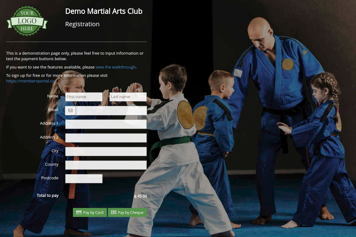 Members Portal martial arts club registration screenshot