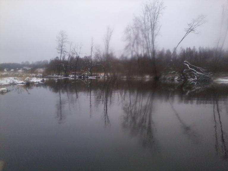 15. februāra pēcpusdiena Karvas HES ūdenskrātuves sākums.