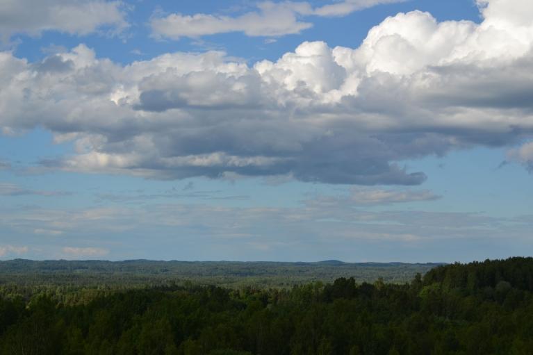 No apkārtnes skaistākā kalna un stāvākā Latvijas pilskalna - Drusku pilskalna - paveras elpu aizraujošas ainavas. Tas lielākais no pauguriem fonā ir Munameģis.