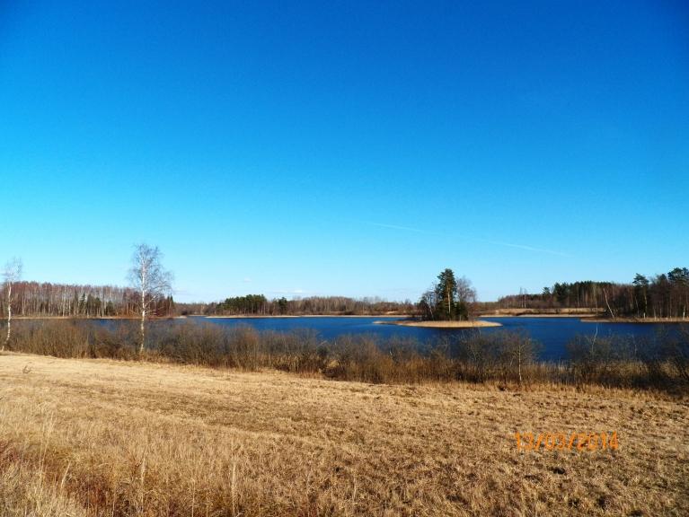 Tepenīcas (Gruzdovas) ezera ledus koši zils.