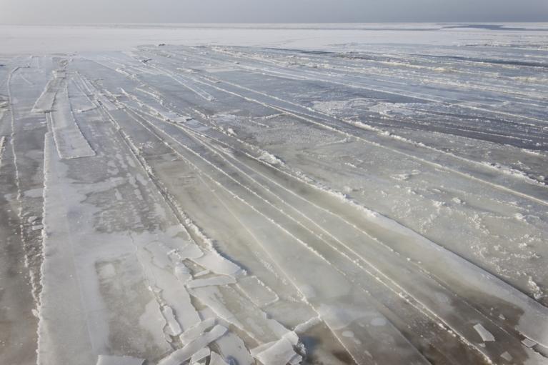 Kā nomērīts - ledus strēles Daugavgrīvā, 11. februārī