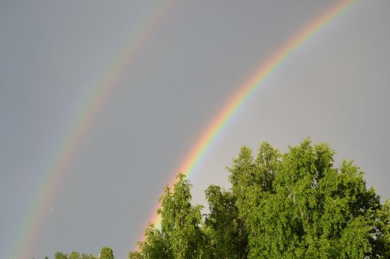 Dubultā varavīksne 10. jūnija negaisa laikā.