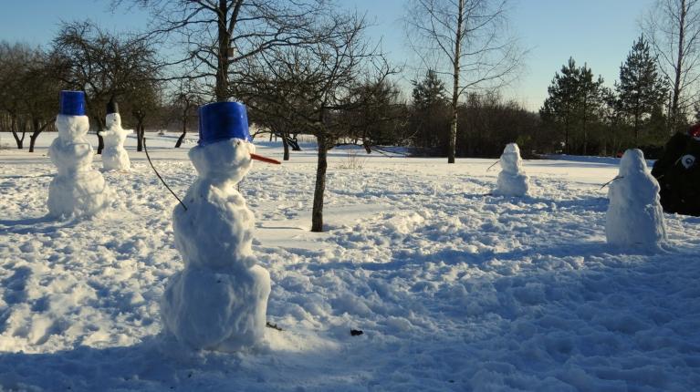 """Termometrs rāda +6,5, sniegavīriem """"tek sviedri"""" :)."""