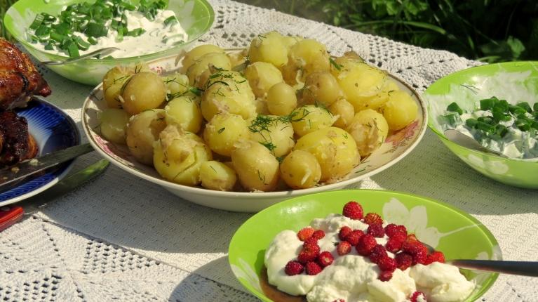 šodien pusdienās baudu savus pirmos jaunos kartupeļus. Man tas nozīmē, ka vasara patiešām ir sākusies!