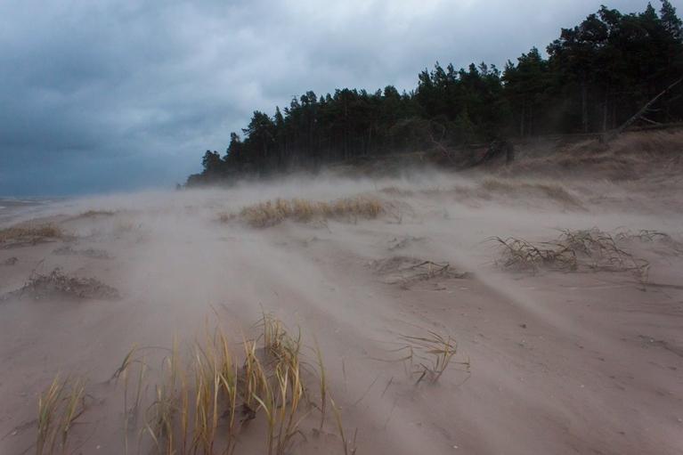 Vētra un smiltis, Kolka, 13. decembris
