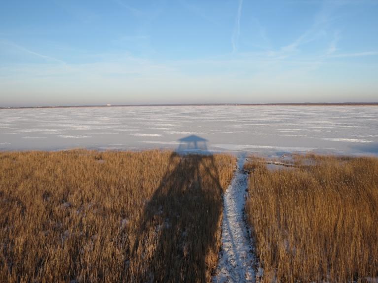 """Skats no torņa pāri ezeram - manīju vienu skrējēju, kādu bļitkotāju, kas devās mājup, jo tuvojās saulriets, kā arī pāris pastaigu nogurdinātus """"ceļotājus"""""""