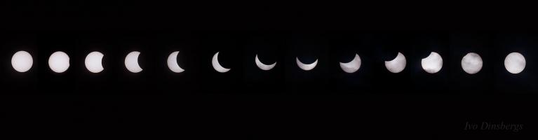 Daļējs Saules aptumsums, secība no sākuma līdz beigām. Ilūkste, 20. marts.