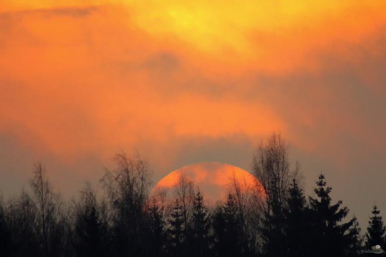 Mākoņains saullēkts. 28.02.