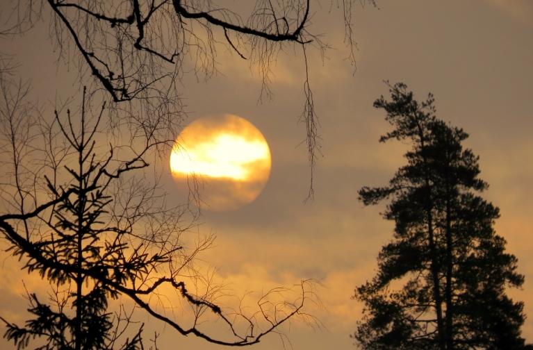 13. februāra rīta puse, caur mākoņiem mēģina izspraukties saule.