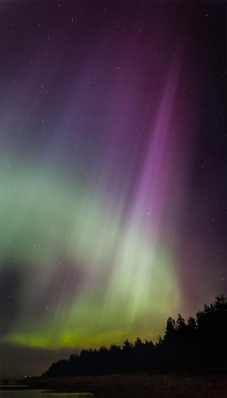 Superziemeļblāzma. Carnikava, 17./18. marta nakts.