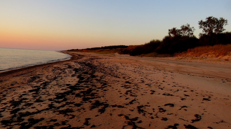 7. septembra vakars netālu no Saraiķiem, kilometriem tālu jūras krastā neredz nevienu cilveku.