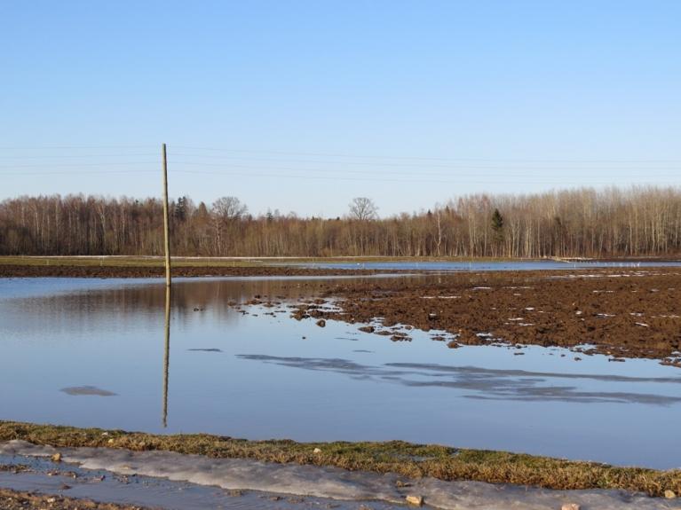 Autors: Migla. Allažos pāris dienu laikā sniegu uz laukiem nomainījušas ūdens lāmas. 16.04.