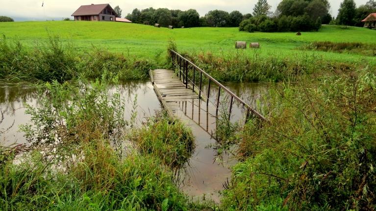 Tumšupīte kāpj ārā no krastiem, daļa tiltiņa jau zem ūdens.