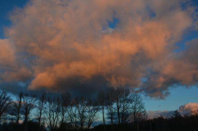 21. novembrī uzdarbojas ļoti neliels līča efekts. Mākoņi saulrietā.