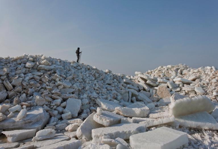 Ledus krāvumi Daugavgrīvā, 14. martā