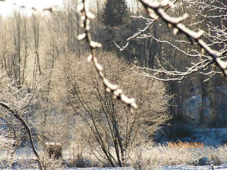 Sniedziņš saulē mirguļo.