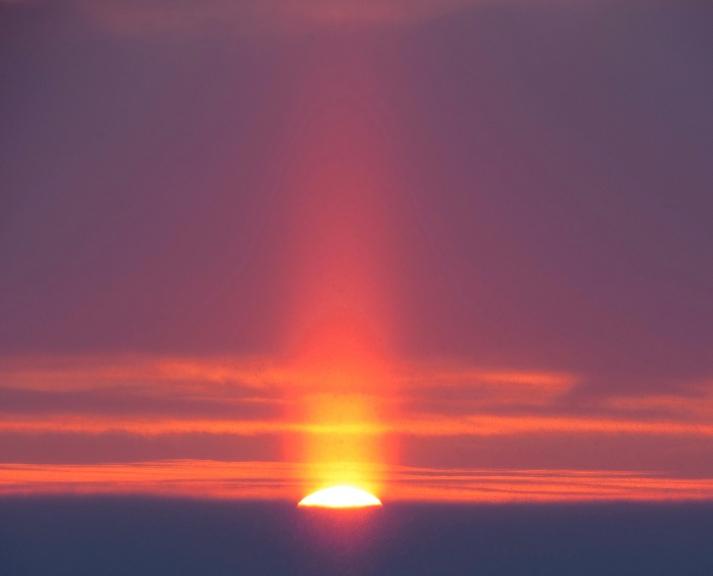 4. janvāra saulriets ar saules stabu (Allaži).
