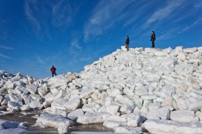 Iekarojot, iespējams, augstāko ledus krāvumu Latvijā! Mērsrags, 6. aprīlis