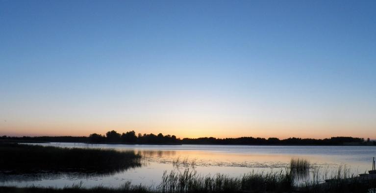 Viļakas ezers 21. 06. plkst. 4.19. Saule ausa 4.13, tātad jau... bet vēl aiz kokiem.