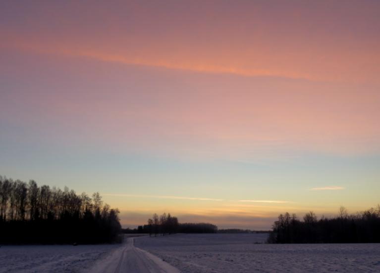 Saullēkta pamale sārti rozīga.