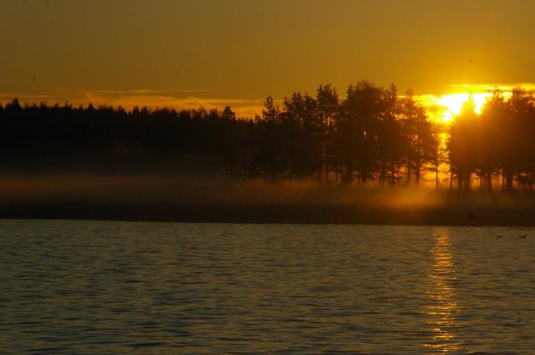 Saullēkts un rīta migla piekrastē Pori pilsētas apkaimē.