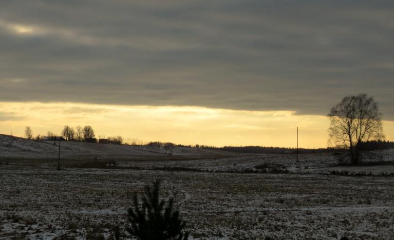 3. decembra priekšpusdiena. Bija cerība, ka mākoņu vāks atkāpsies, diemžēl tā nenotika - diena tumša, nepatīkams vējelis.