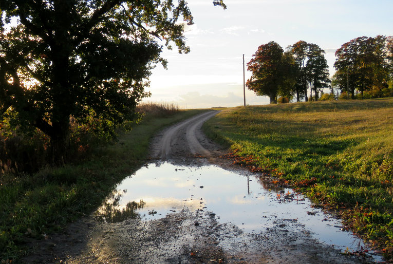 Ainavā parādījies jau gandrīz vai aizmirsts elements- lietus peļķes.