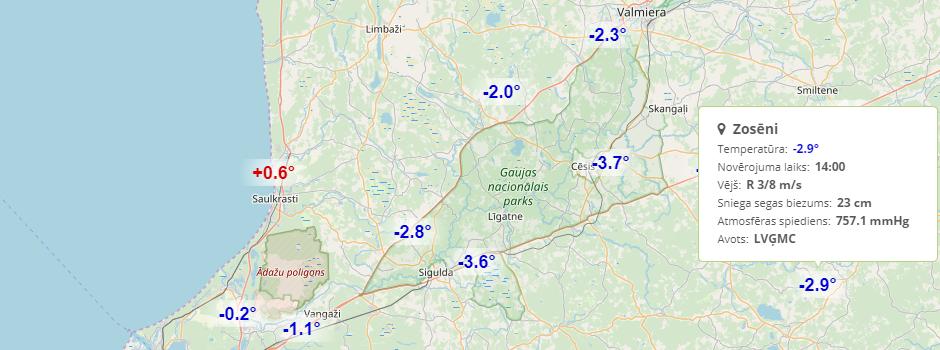 Faktiskie laika apstākļi Latvijā