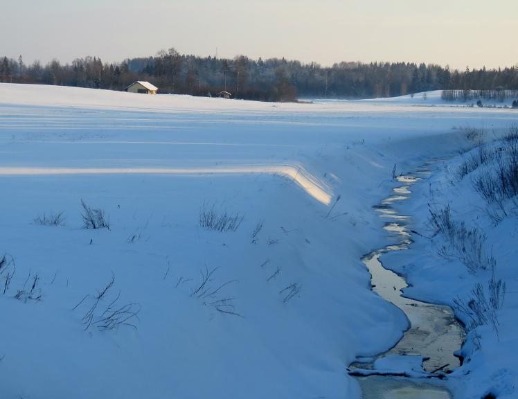 Baltie sniega lauki- līdzeni kā galds.