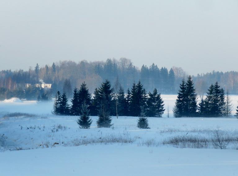 Virs sniega spilgtajā saulē  veidojās miglas kārtiņas.