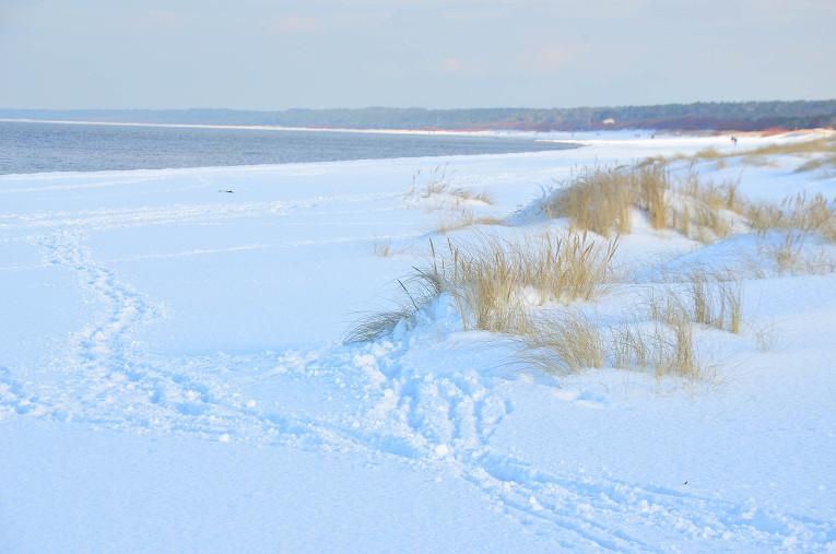 Mangaļsalas pludmale sniegos 30. janvārī.