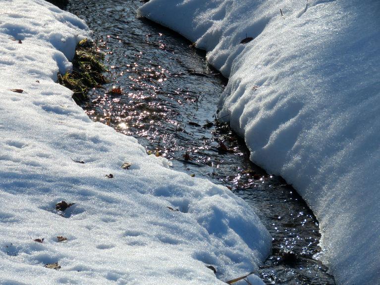 Grāvītī sāk čalot kūstošā sniega ūdeņi.