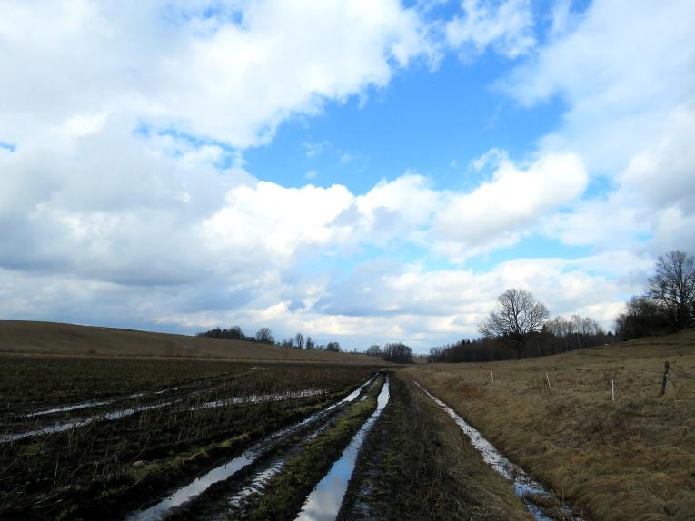 Sniegs tā lielākajā daudzumā jau bija izkusis, uz laukiem - dubļu lāmas un peļķes.