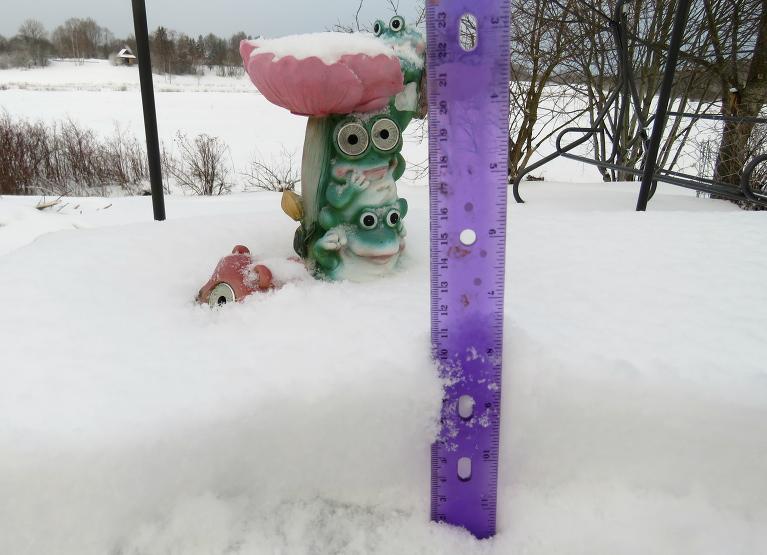 12. marta rīts, vidējais sniega biezums ap 9 cm, uz pagalma galda samērīju 11 cm biezu sniega segu.