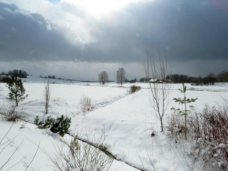 Ik pa laikam uzrodas kārtējais mākonis, kas izgāž sniega kravu pār apkārtni.